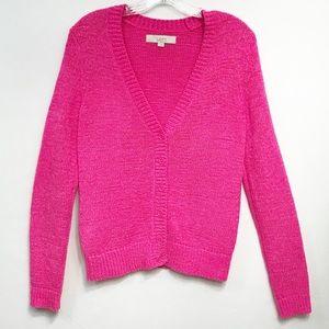 LOFT • Women's Hot Pink Cardigan Botton Size Small